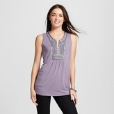 Knox Rose Women's Knit Tank with Neck Embroidery