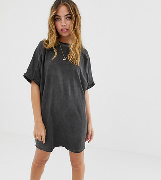 Asos DESIGN Petite t-shirt dress with rolled sleeves and wash-Black