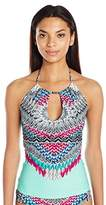Jessica Simpson Women's Dakota Placement High Neck Key Hole Adjustable Tie Halter Tankini
