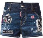 DSQUARED2 patched denim shorts - women - Cotton/Polyester/Spandex/Elastane - 42