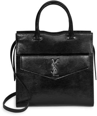 Saint Laurent Medium Uptown Lizard-Embossed Leather Satchel