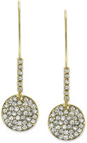 ABS by Allen Schwartz Earrings, Gold-Tone Pave Crystal Disc Drop Earrings