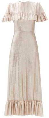 The Vampire's Wife The Bombette Ruffled Wool-blend Lame Maxi Dress - Gold