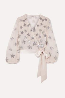 Temperley London Starlet Silk Satin-trimmed Sequin-embellished Chiffon Wrap Top - Cream