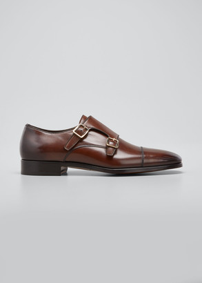 Tom Ford Men's Double-Monk Strap Leather Loafers