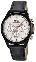 Lotus Men's Quartz Watch with White Dial Chronograph Display and Black Leather Strap 18199/1