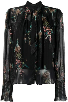 AllSaints Layered Sheer Floral Print Blouse