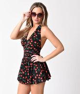 Esther Williams Rockabilly Black Cherry Marilyn Halter Swimsuitdress