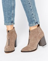 Office Ally Zip Front Suede Heeled Ankle Boots