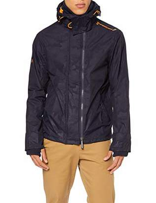 Superdry Men's Hooded Technical Print Pop Zip Windcheat Jacket,Large