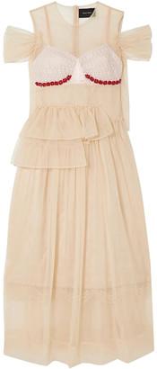 Simone Rocha Crystal-embellished Silk-satin And Lace-paneled Ruffled Tulle Dress