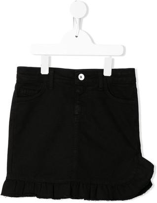 Msgm Kids Ruffled Denim Skirt