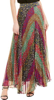Alice + Olivia Kats Sunburst Pleated Maxi Skirt