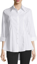 Neiman Marcus 3/4-Sleeve Swing Blouse, White