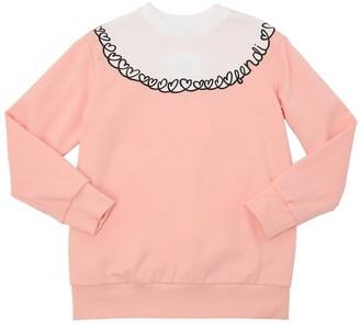 Fendi Hearts Embroidered Cotton Sweatshirt