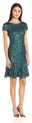 Adrianna Papell Women's Short Sleeve Cocktail Dress with Flare Skirt and Godets