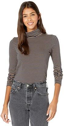 J.Crew Tissue Turtleneck T-Shirt in Stripes (Navy/Camel Stripe) Women's Clothing