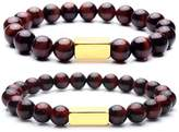 Top Plaza Chakra Reiki Healing Energy Crystals Natural Red Tiger Eye Stone Yoga Meditation Elastic Couple Bracelets For Him And Her(Gold)