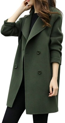 Sunday77 Coat Clerance!!! Women's Coat Sunday77 Solid Turn-Down Collar Parka Cardigan for Slim Long