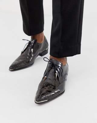 Jeffery West Adamant cuban shoes with graveyard etch-Black