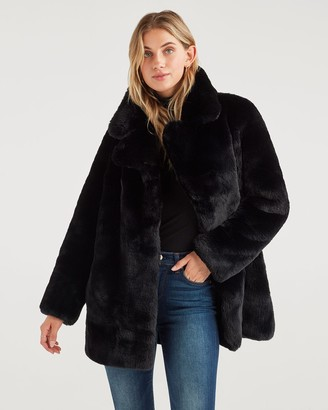 7 For All Mankind Long Faux Fur Coat in Jet Black
