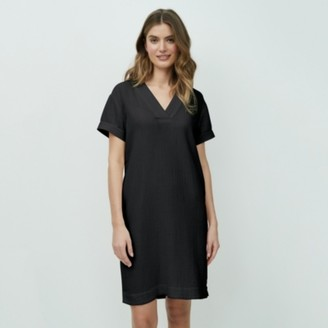 The White Company Double-Cotton Shift Dress, Black, 6