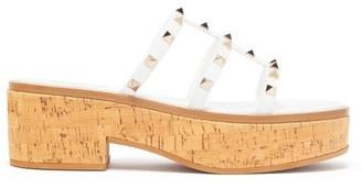 Valentino Studcork Flatform Leather Sandals - White