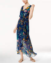 Sangria Printed Surplice Maxi Dress