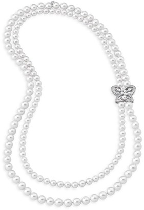 Majorica Sterling Silver, Faux Pearl & Cubic Zirconia Necklace