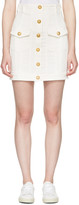 Balmain White Denim Buttons Miniskirt