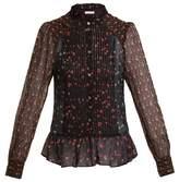 Masscob High-neck floral-print silk blouse