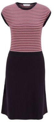HUGO BOSS Knitted dress with three-tone jacquard top