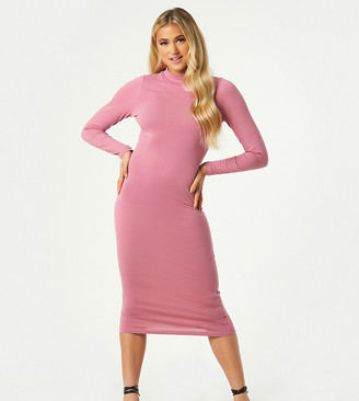 Outrageous Fortune exclusive high neck long sleeve midi dress in dusty rose