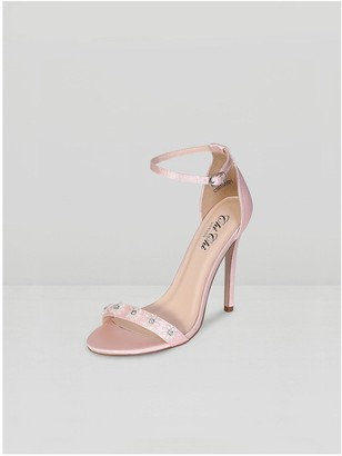 Chi Chi London Leilani Beaded Floral Sandal Stiletto Heels - Nude