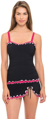 Gottex Women's Lettuce Ruffle Sweetheart E-Cup Tankini Top Swimsuit