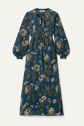 Sea Pascale Embroidered Floral-print Cotton-voile Midi Dress - Blue
