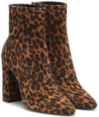 Saint Laurent Lou 100 leopard-print suede ankle boots