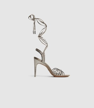 Reiss CASSIDY STRAPPY HIGH HEELED SANDALS Silver