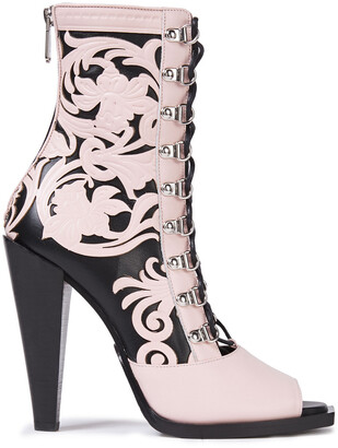 Balmain Calamity Lace-up Appliqued Leather Ankle Boots