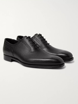 George Cleverley Anthony Pebble-grain Leather Oxford Brogues - Black
