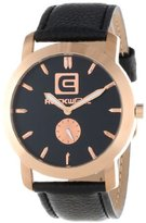 Rockwell Time Unisex CT109 Cartel Black Leather Band Black Dial Rose Gold Case Watch