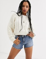 Bershka cropped cable knit jumper in cream