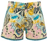 Le Sirenuse Le Sirenuse, Positano - Bubble Psycho-print Cotton Shorts - Womens - Yellow Multi