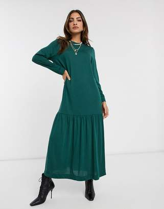Asos Design DESIGN long sleeve dropped hem maxi t shirt dress in forest green