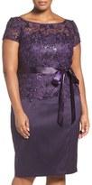 Adrianna Papell Sequin Lace & Mikado Sheath Dress (Plus Size)