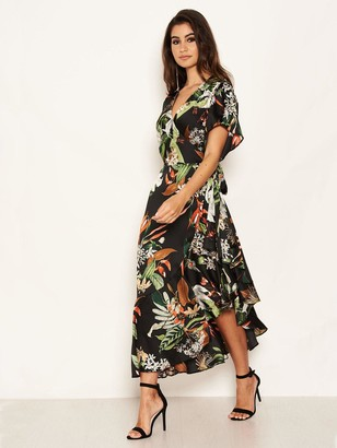 AX Paris Printed Tropical Midi Dress - Black