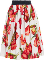 Dolce & Gabbana Floral-print Cotton-poplin Skirt - Red