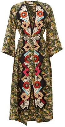 Chufy - Belted Oryx Print Robe - Womens - Green Multi