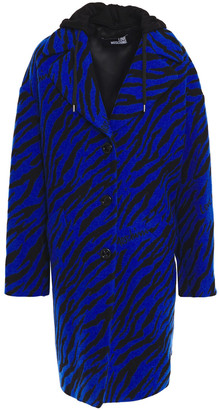 Love Moschino French Terry-paneled Wool-blend Zebra-jacquard Hooded Coat