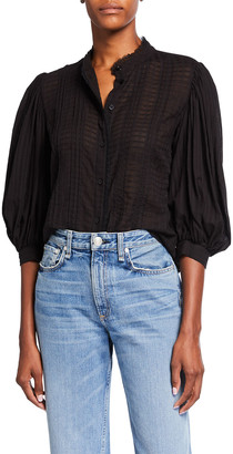 See by Chloe Elbow-Sleeve Lace Stripe Blouse